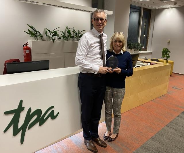 TPA Accounting Firm 2020 Award - TPA Tax advisor Petr Karpeles and Jana Vitkova presenting prize at Warsaw Tax Advisor office of TPA Czech Republic.